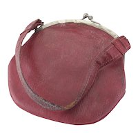 Vintage Child's or Large Doll's Red Leather Purse