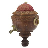 Rare Antique Keg Shaped Pincushion with Tap