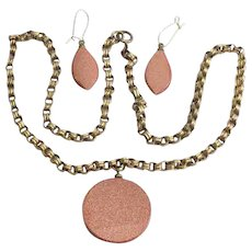 Vintage Goldstone and Brass Necklace and Earrings