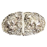 Vintage Silver(tested) Elephant Belt Buckle
