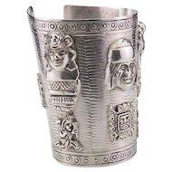 Vintage Sterling Silver Peruvian Cuff Bracelet