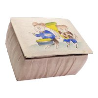 Vintage Silk Baby Shoes in Original Painted Silk Box