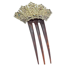 Antique Early 19th Century Folding Jeweled hair Comb