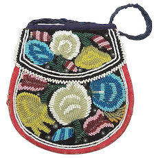 Vintage First Nations Beaded Double Sided Purse/Handbag