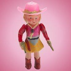 Vintage Celluloid Cowboy Girl Doll
