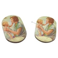 Pair of Vintage Advertising Paper Pincushions