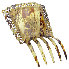 Vintage Celluloid Large Painted Hair Comb