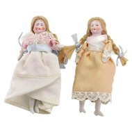 Pair of Antique Bisque Dollhouse Dolls