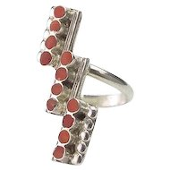 Vintafe Mexican Silver and Coral Ring