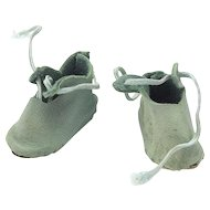 Small Pair of Blue Leather Vintage Doll Shoes