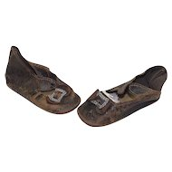 Pair of Antique Leather Doll Shoes