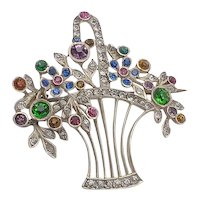 Lovely Sterling and Paste jeweled Giardinetto Basket Brooch
