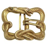 Antique Brass Double Snake Buckle