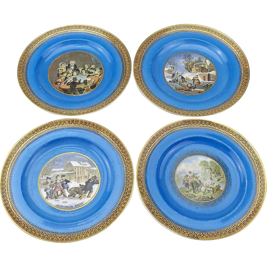 Small Decorative Plates Sets: Set Of 4 Very Decorative Small Pratt Plates : Vininghill