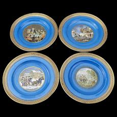 Set of 4 Very Decorative Small Pratt Plates