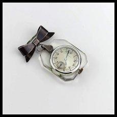 Antique Sterling Silver and Lucite Nurses Deco Pendant Watch