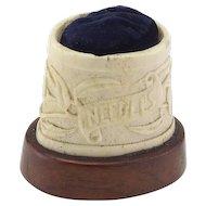 Vintage Carved Bone Pincushion