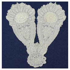 19th Century  Hand Made Point de Gaz Bobbin Lace Jabot