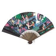 Vintage Fancy Japanese Hand Painted Fan