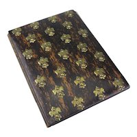 Vintage Coromandel Wood and Brass Blotter Book-As Is