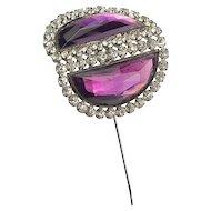 Vintage Huge Amethyst Glass Hat Pin