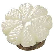 Carved Mother of Pearl Button Stud