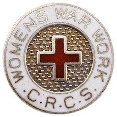 Small Sterling Enamel Pin Women's War Work