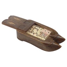 Vintage Carved Double Shoe Dominoes Box