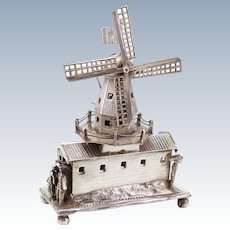 Antique 19th Century Dutch Silver Windmill Whimsey