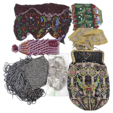 Seven Vintage Beaded Purses-As Is for restoration