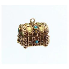 Lovely 14K Gold  and Turquoise Treasure Chest Charm