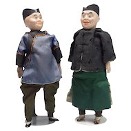 Two Vintage Chinese Character Dolls Man and Woman-Near Mint