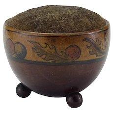 Vintage Painted Bowl Wood Pincushion