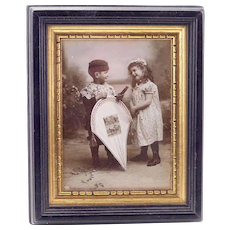 Vintage Photo of Two Children and a Kite