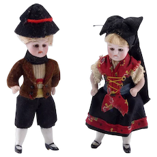 Antique Pair of All Bisque Mignonette Dolls