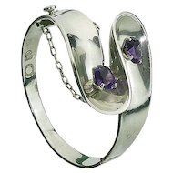 Gorgeous Heavy Mexican Sterling Silver and Amethyst Bracelet