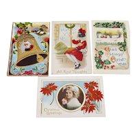 Four Vintage Holiday Postcards