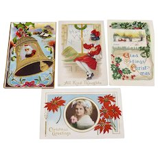 Four Vintage Holiday Postcards