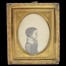 Pair of Antique Pencil Drawings of Young Boys