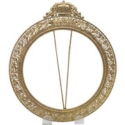 Lovely Antique Gilded Pierced Metal Picture Frame