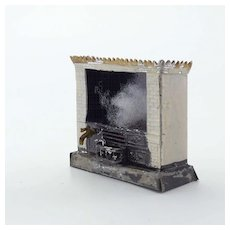 Painted Tin Decorative Dollhouse Fireplace