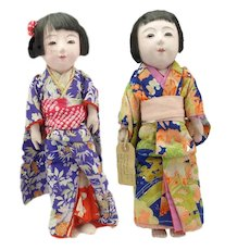 Lovely Pair of Japanese Ichimatsu Dolls