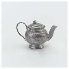 Miniature Metal Teapot for Dollhouse