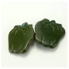 Vintage Green Bakelite Apples Buckle