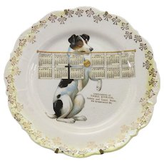 Antique Fox Terrier Advertising Calendar Plate 1910