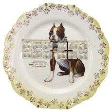 Antique Dog Calendar Advertising Plate 1910