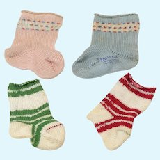 Four Vintage Doll Socks- Two Merry Christmas