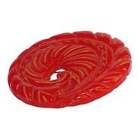 Vintage Red Bakelite Stylized Leaf or Feather Brooch