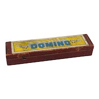 Box of Vintage Dominoes with Airplane Design