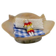 Tiny All Bisque Doll in MOP Bed